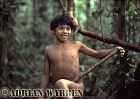 Waorani Indian, Boy learning how to use Blowgun, rio Cononaco, Ecuador, 1983