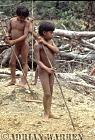 Waorani Indians : boys leaning to spear, rio Cononaco, Ecuador, 1983