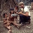 Waorani Indians : Minimo with Joel Rettig, rio Cononaco, Ecuador, 1983