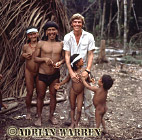 Waorani Indians : Caempaede, his wife Minimo, and Adrian Warren, rio Cononaco, Ecuador, 1983