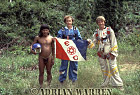 Waorani Indians : Caempaede, Grant Behrman and Adrian Warren with Explorers Club flag, rio Cononaco, Ecuador, 1983