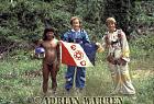 Waorani Indians : Caempaede, Grant Behrman and Adrian Warren with Explorers Club flag, rio Cononaco, Ecuador, 1983