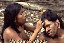 Waorani Indians, Couple grooming, rio Cononaco, Ecuador, 1983