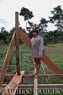 Waorani Indians : House construction at Tonaempaede, Ecuador, 2002