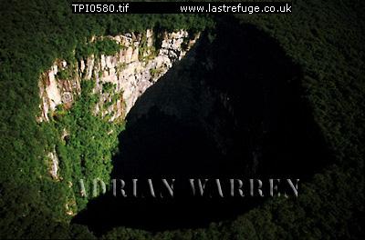 Aerials (aerial photo) of Tepuis, South America: Sarisarinama sink hole with rainforest, Jaua-Sarisari?ama National Park at the far south-west of Bol?var State, Venezuela