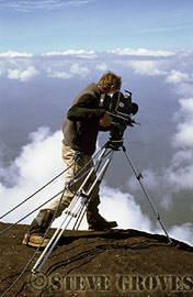 Adrian Warren filming from the Prow of Roraima